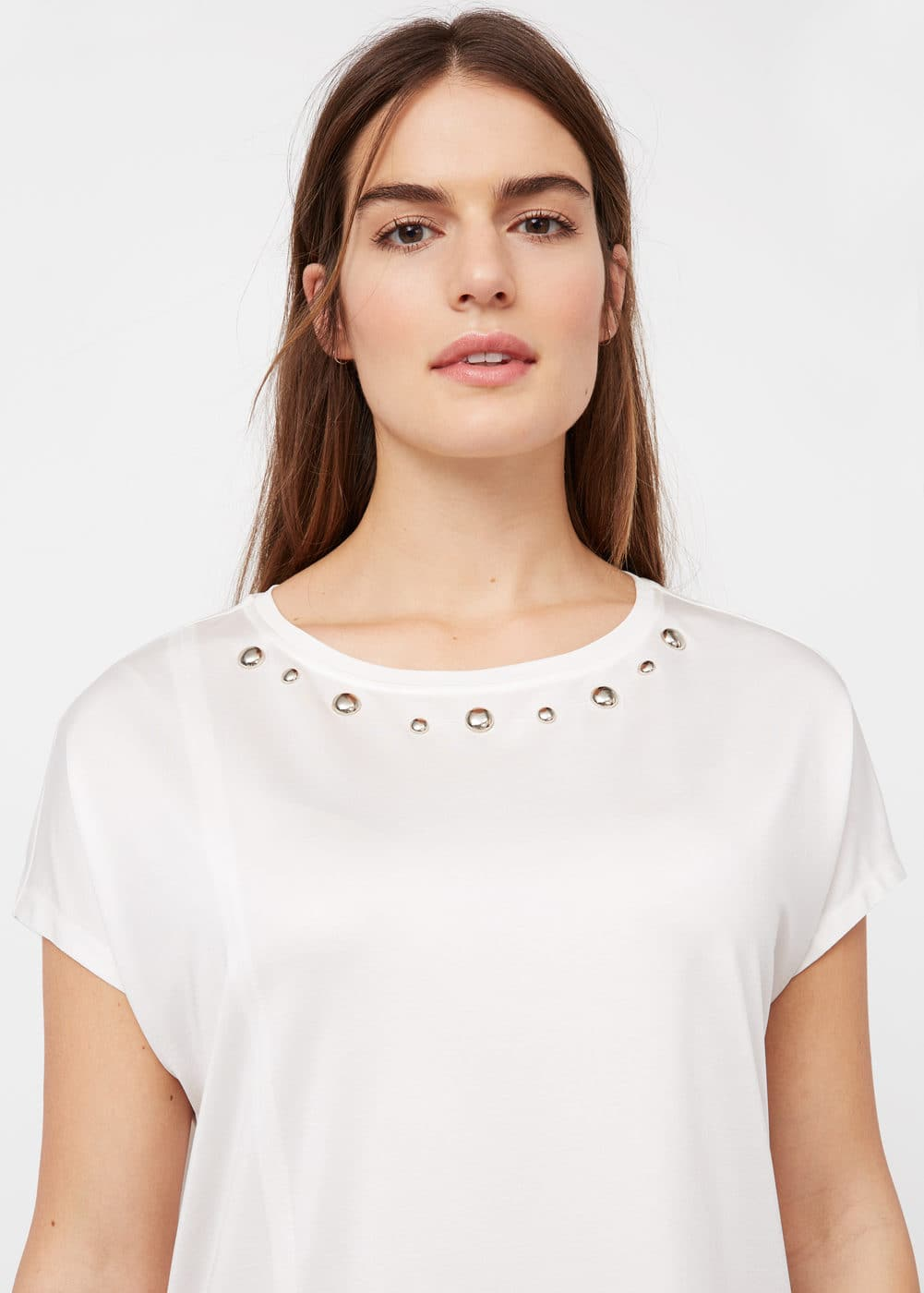 Stud panel t-shirt | VIOLETA BY MANGO