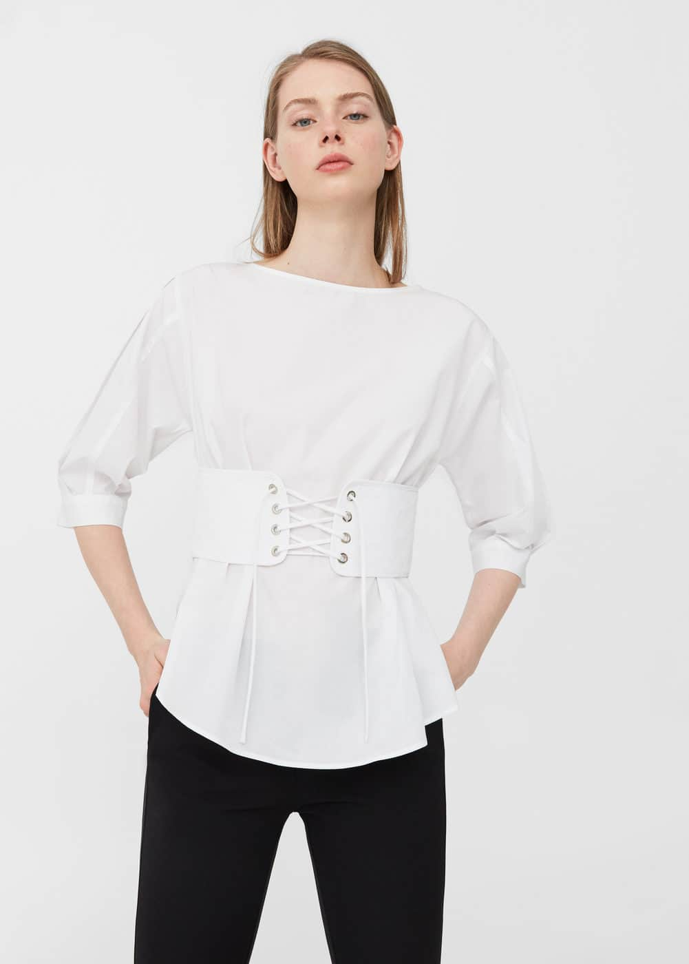 Corset cotton blouse | MANGO