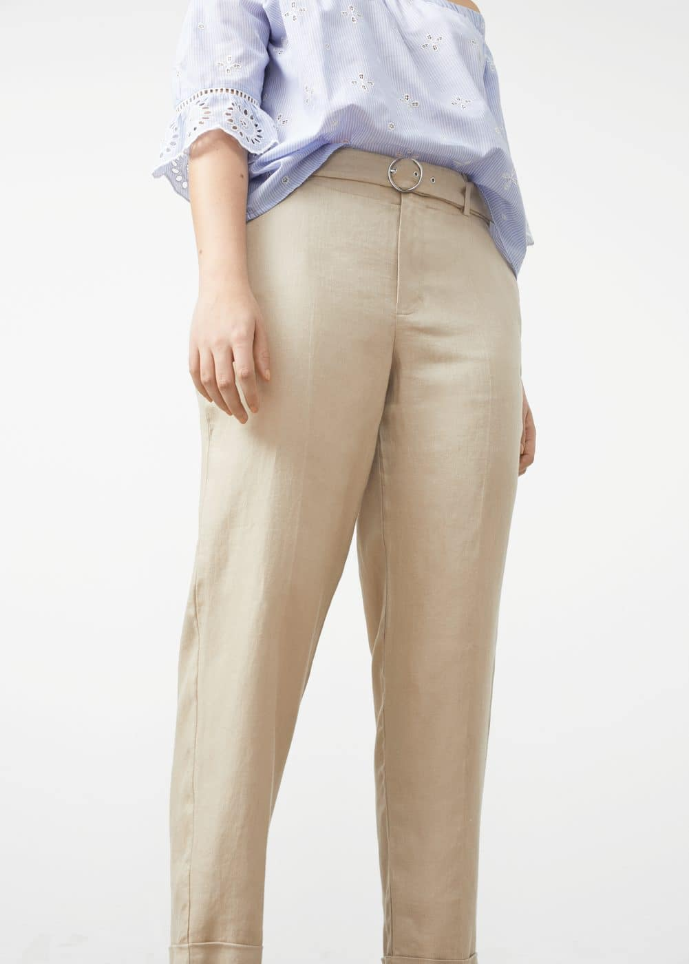 Herringbone-pattern linen trousers | MANGO