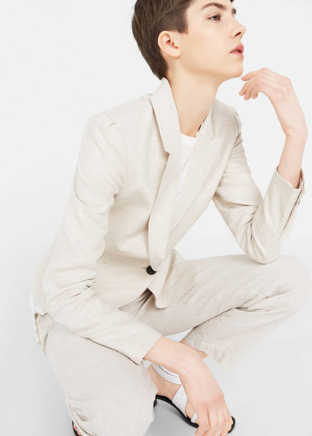 Structured linen jacket | MANGO