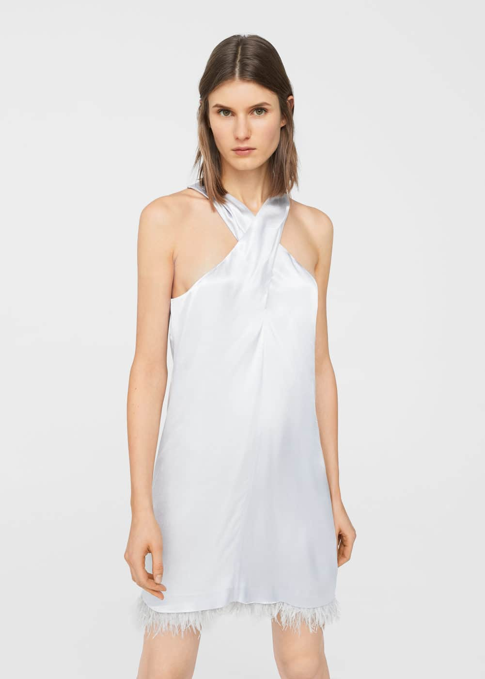 Feather satin dress | MANGO