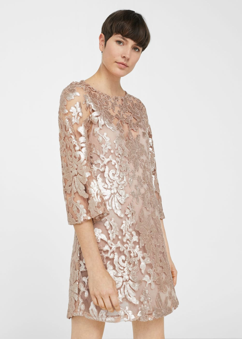 Sequin embroidered dress | MANGO