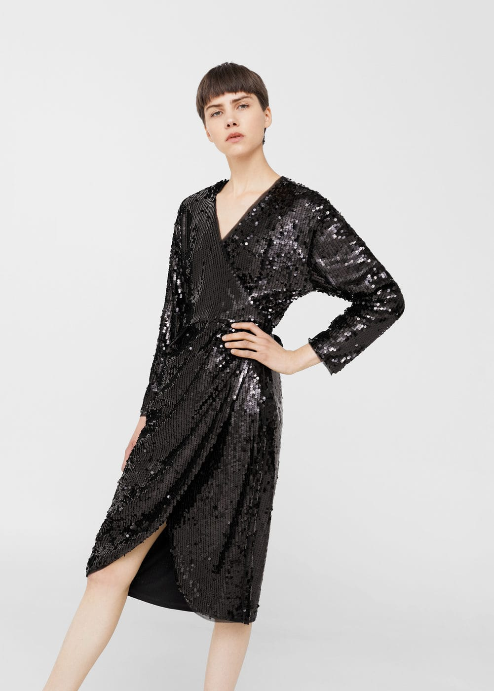 Sequin wrap dress | MANGO