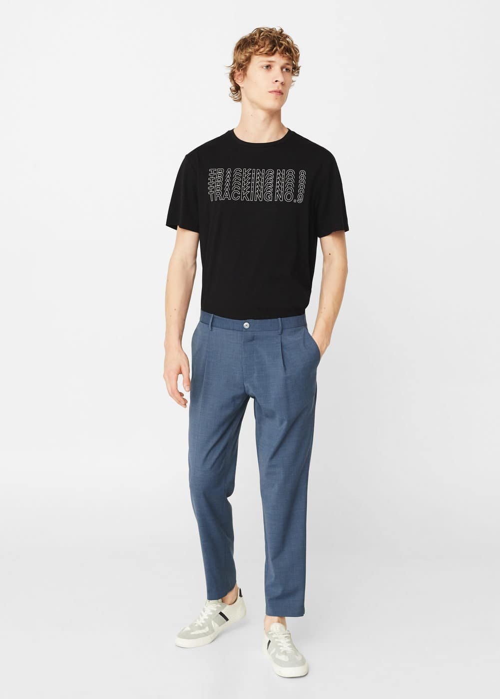 Pleated crop trousers | MANGO MAN