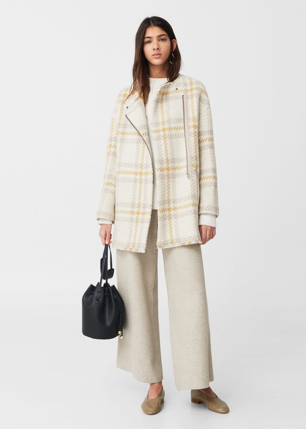 Manteau carreaux laine | MANGO
