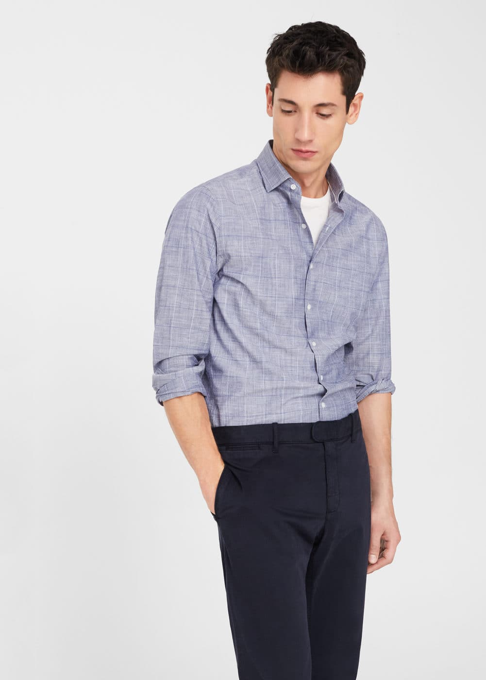 Check slim-fit end-on-end shirt | MANGO