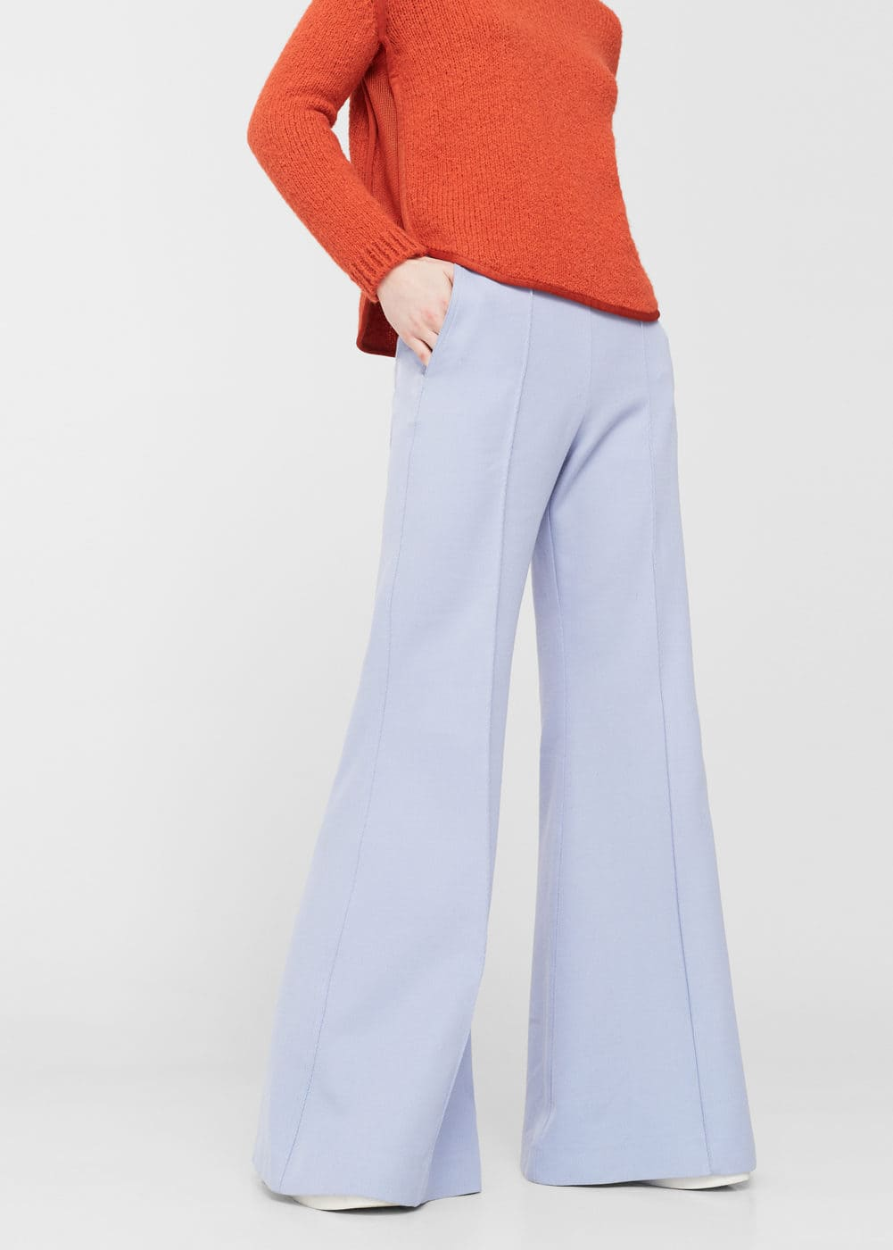 Flared cotton-blend trousers | MANGO