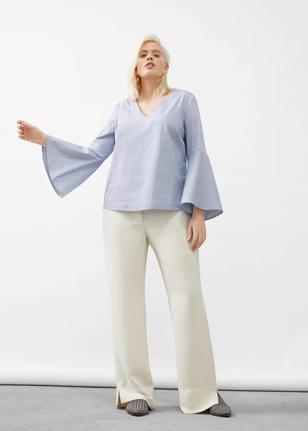 Striped poplin blouse | VIOLETA BY MANGO