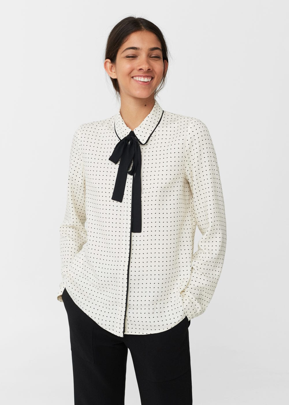 Bow monochrome shirt | MANGO