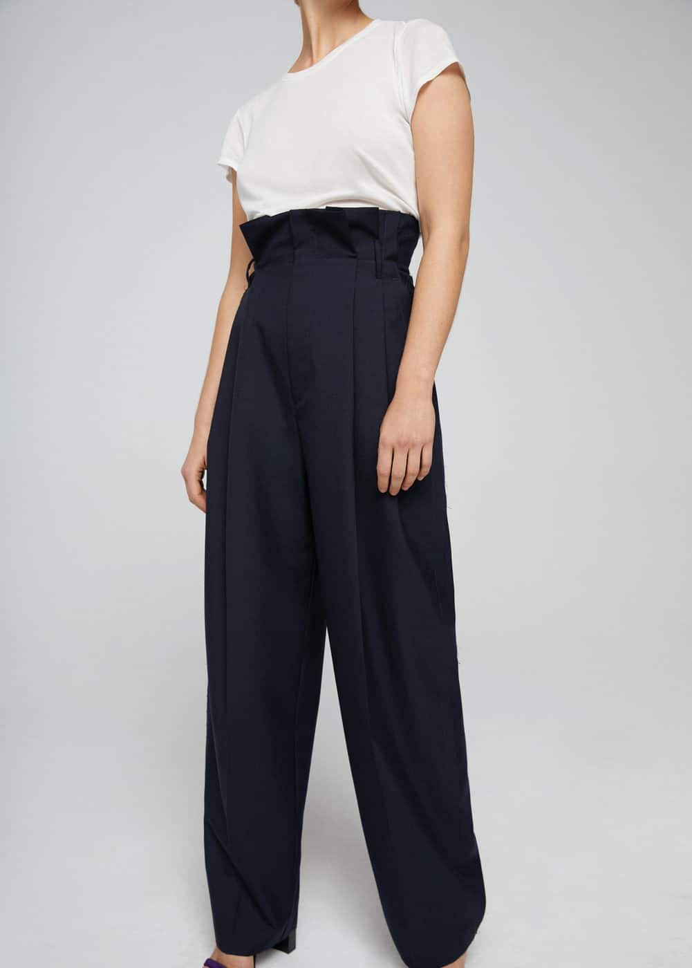 Cotton wool-blend trousers | MANGO