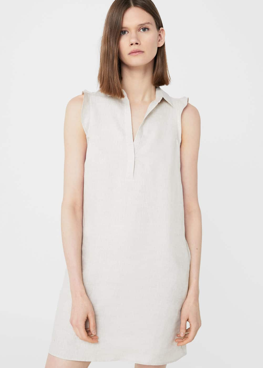 Linen-blend shirt dress | MANGO