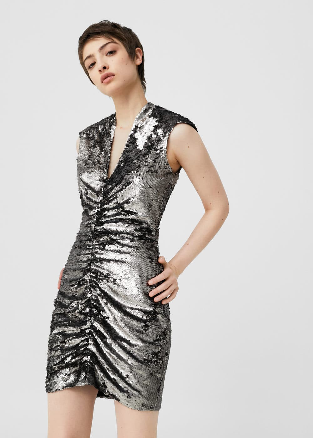 Pursed sequined dress | MANGO