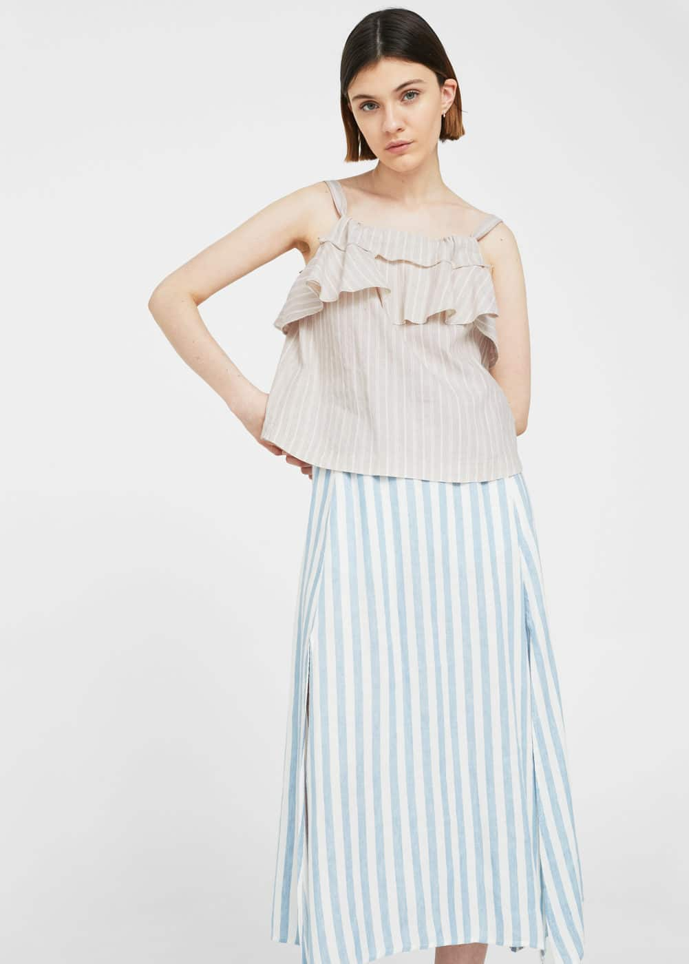 Striped linen top | MANGO