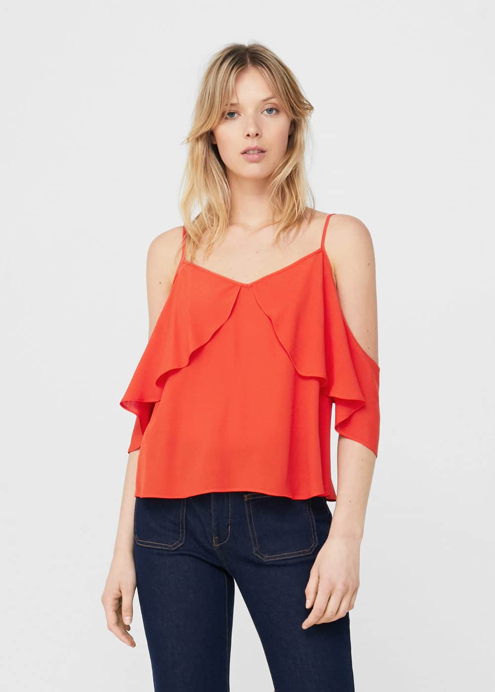 Off-shoulder top mit rüschen | MANGO