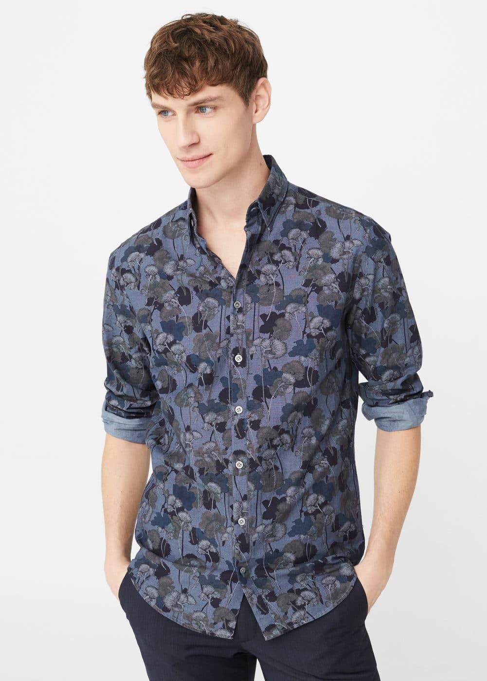 Slim-fit floral-print chambray shirt | MANGO