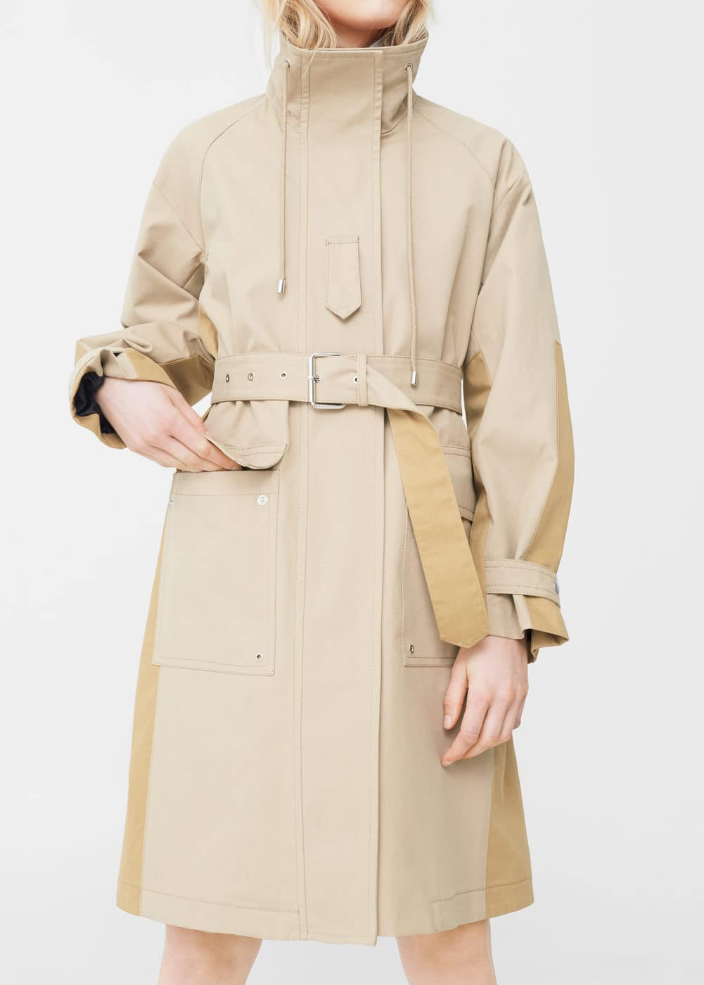 Two-colored belt parka | MANGO