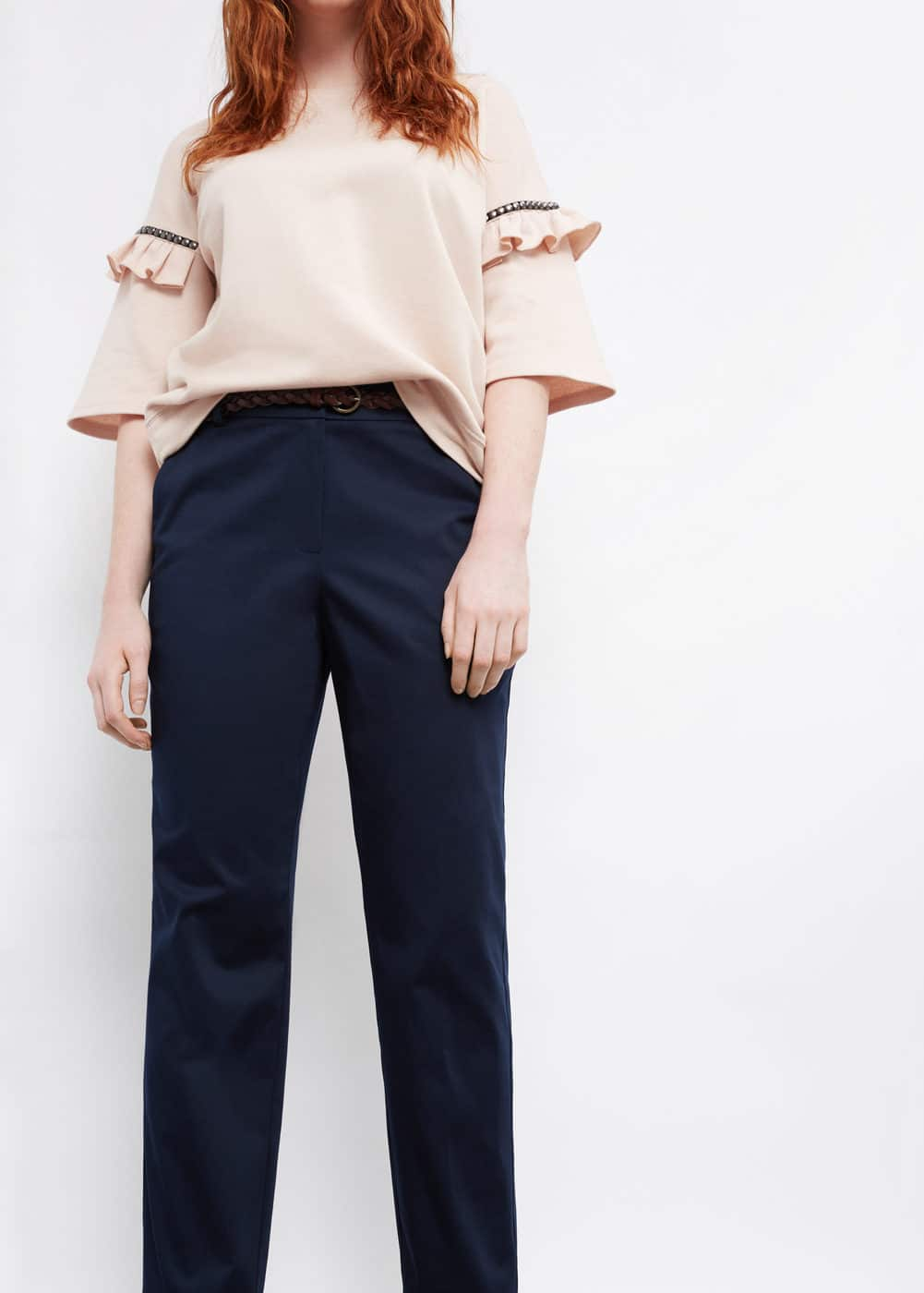 Belt cotton-blend trousers | VIOLETA BY MANGO