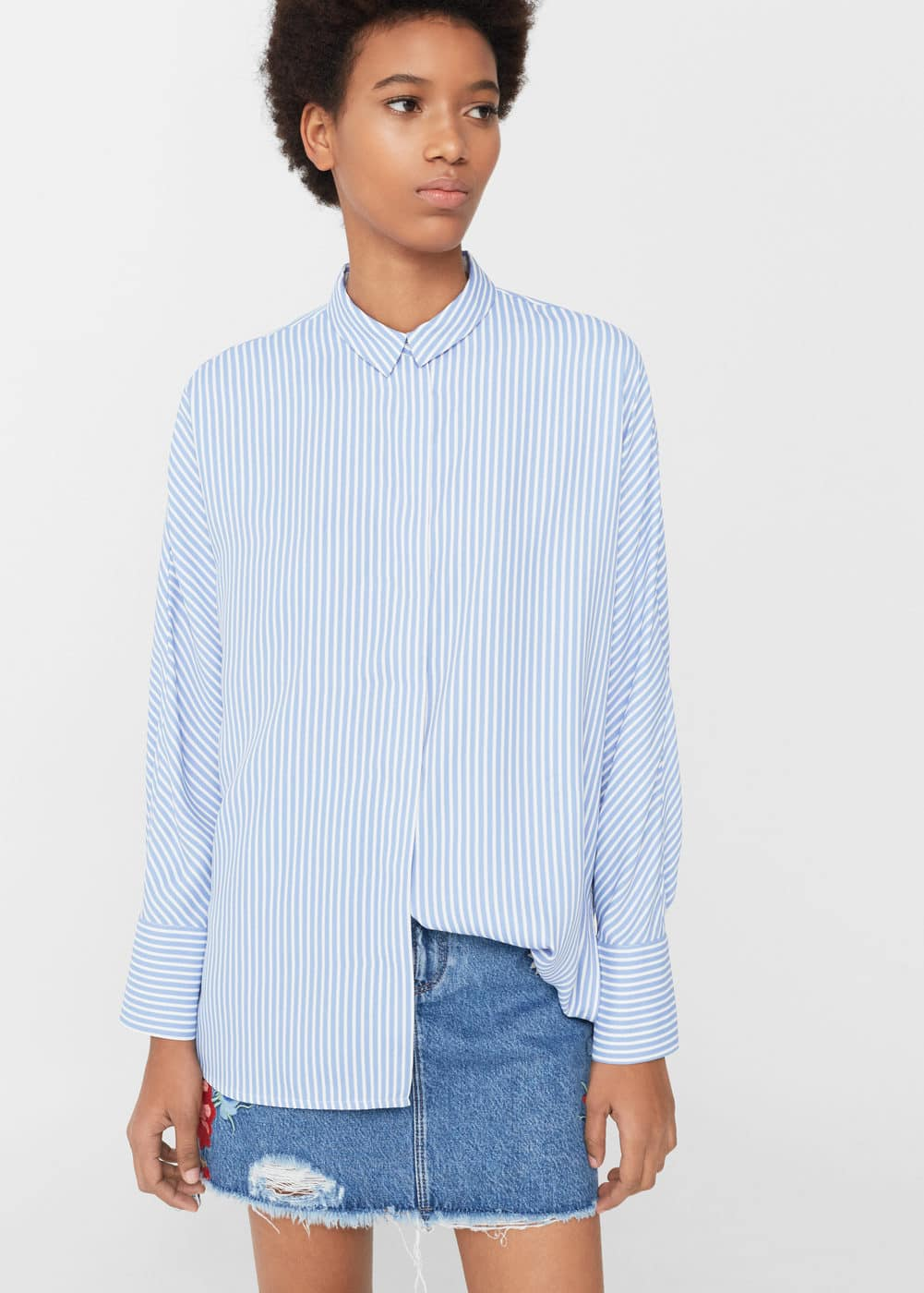 Striped flowy shirt | MANGO