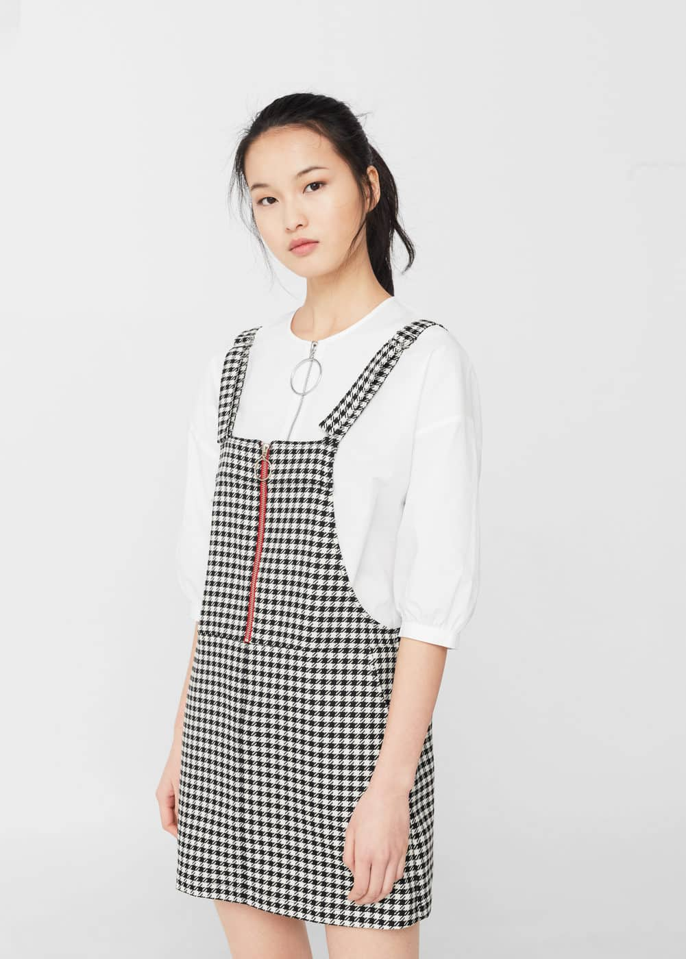 Two-tone printed pinafore dress | MANGO