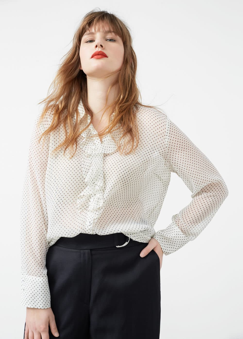 Ruffle printed shirt | VIOLETA BY MNG