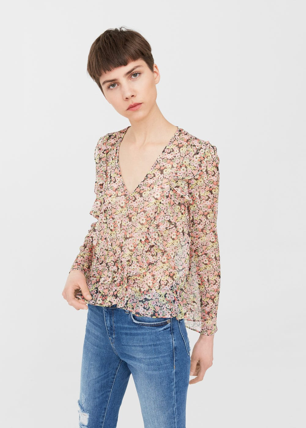 Ruffle printed blouse | MNG