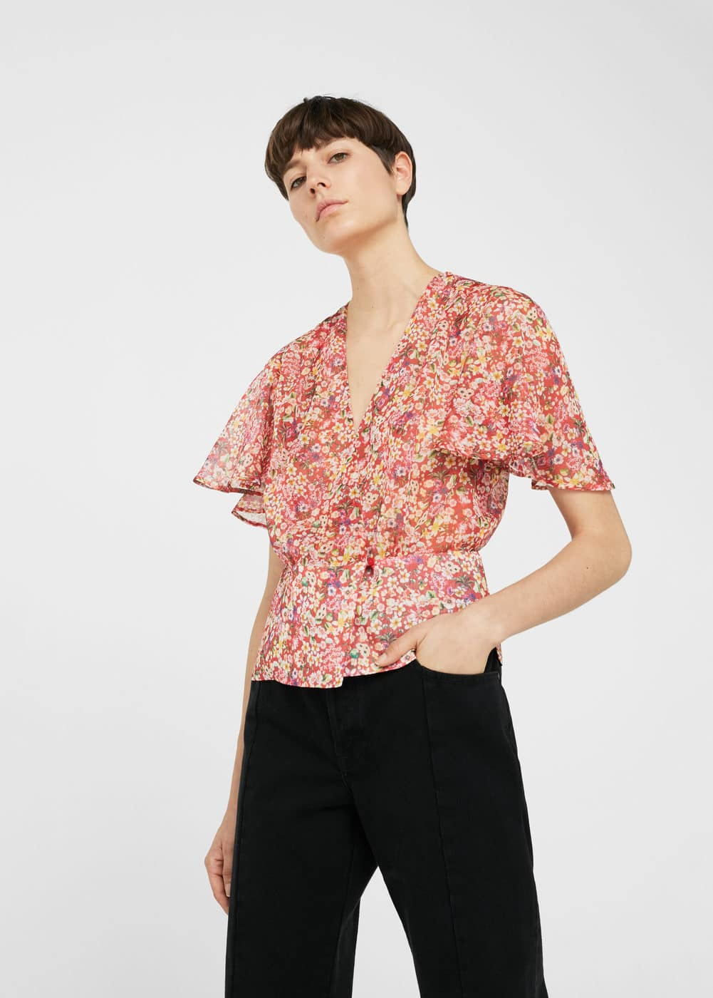 Wrap floral blouse | MNG