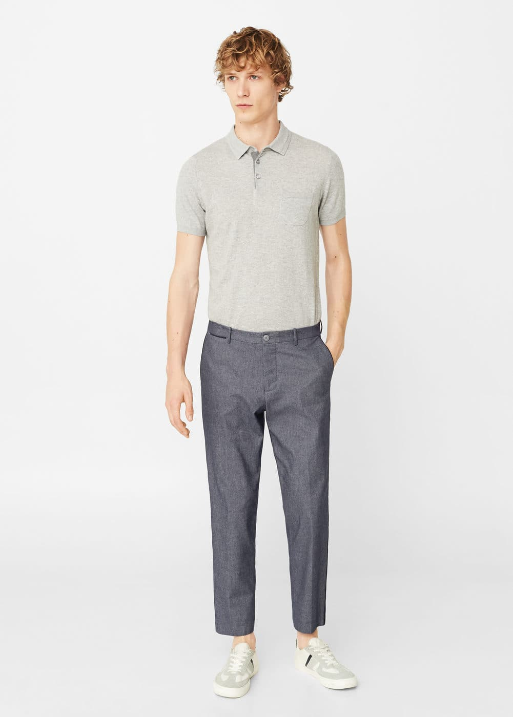 Contrast trim trousers | MANGO MAN