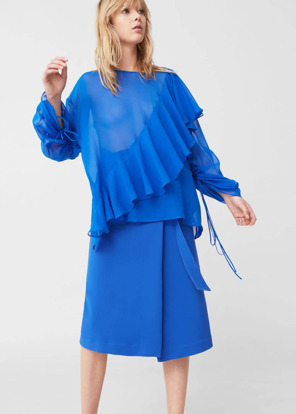 Ruffled silk shirt | MANGO
