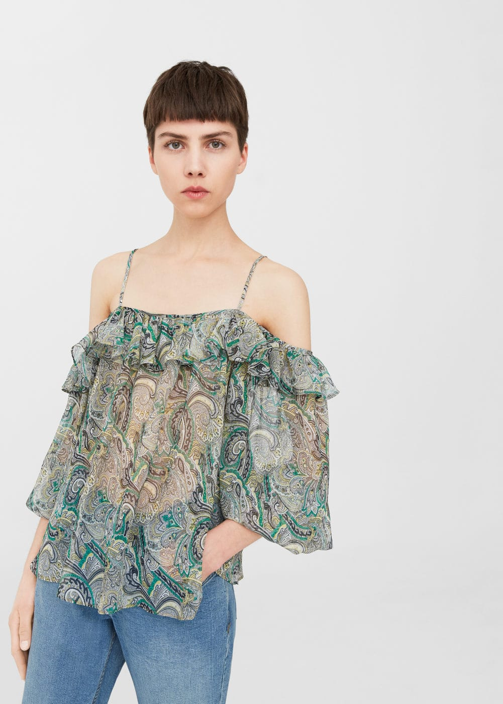 Blusa off-shoulder estampada | MANGO