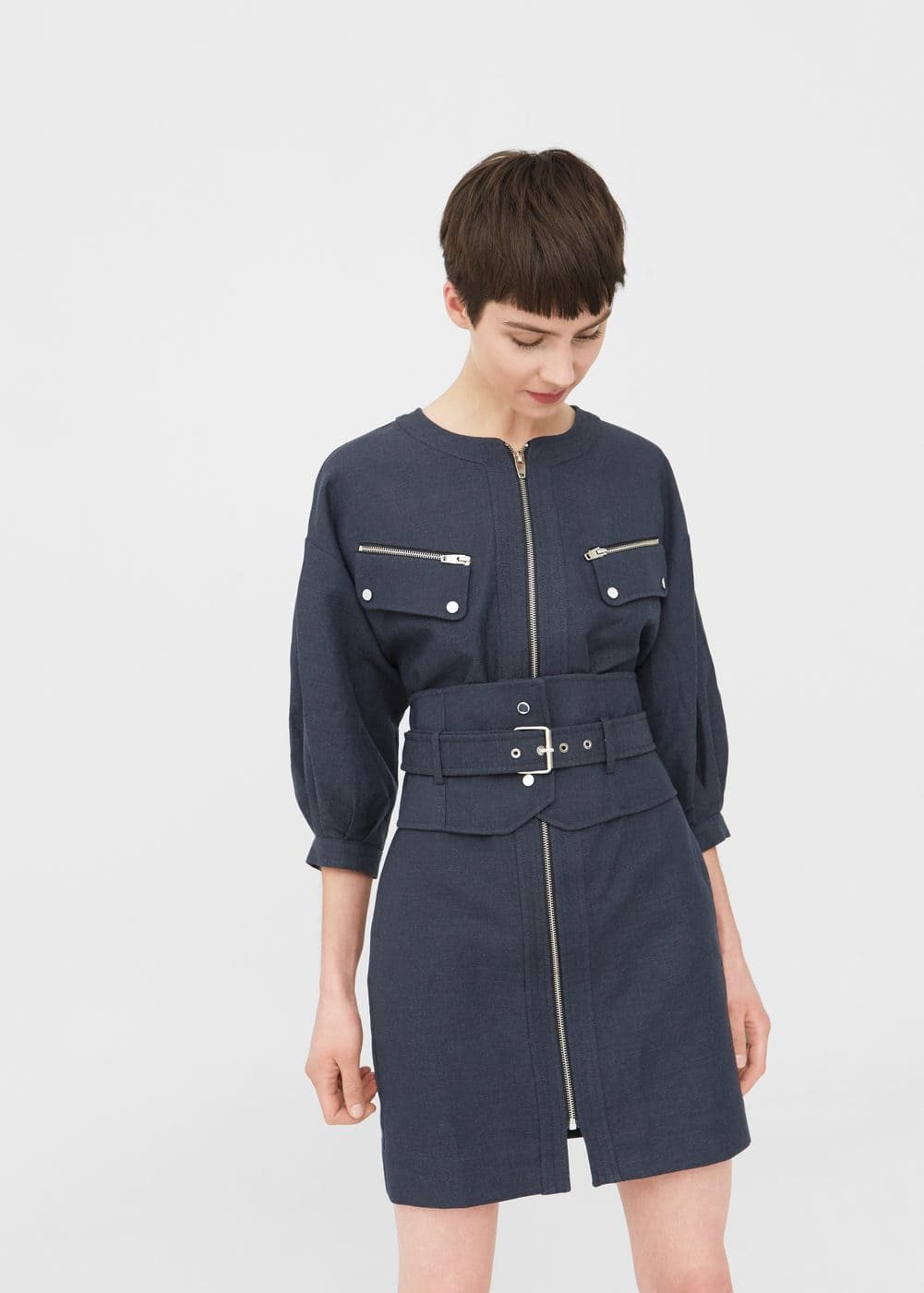 Belt linen dress | MANGO