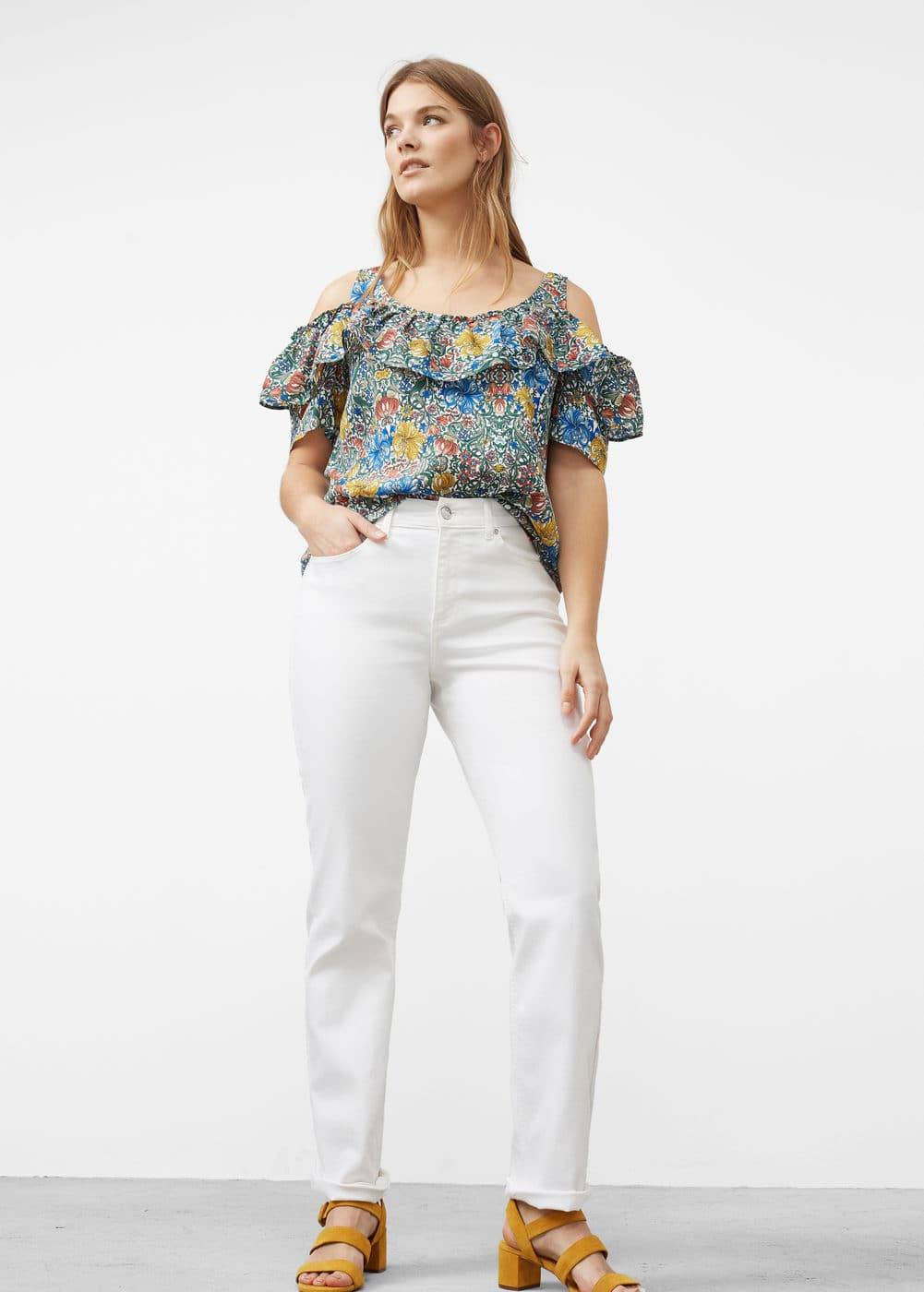 Printed off-shoulder blouse | VIOLETA BY MANGO
