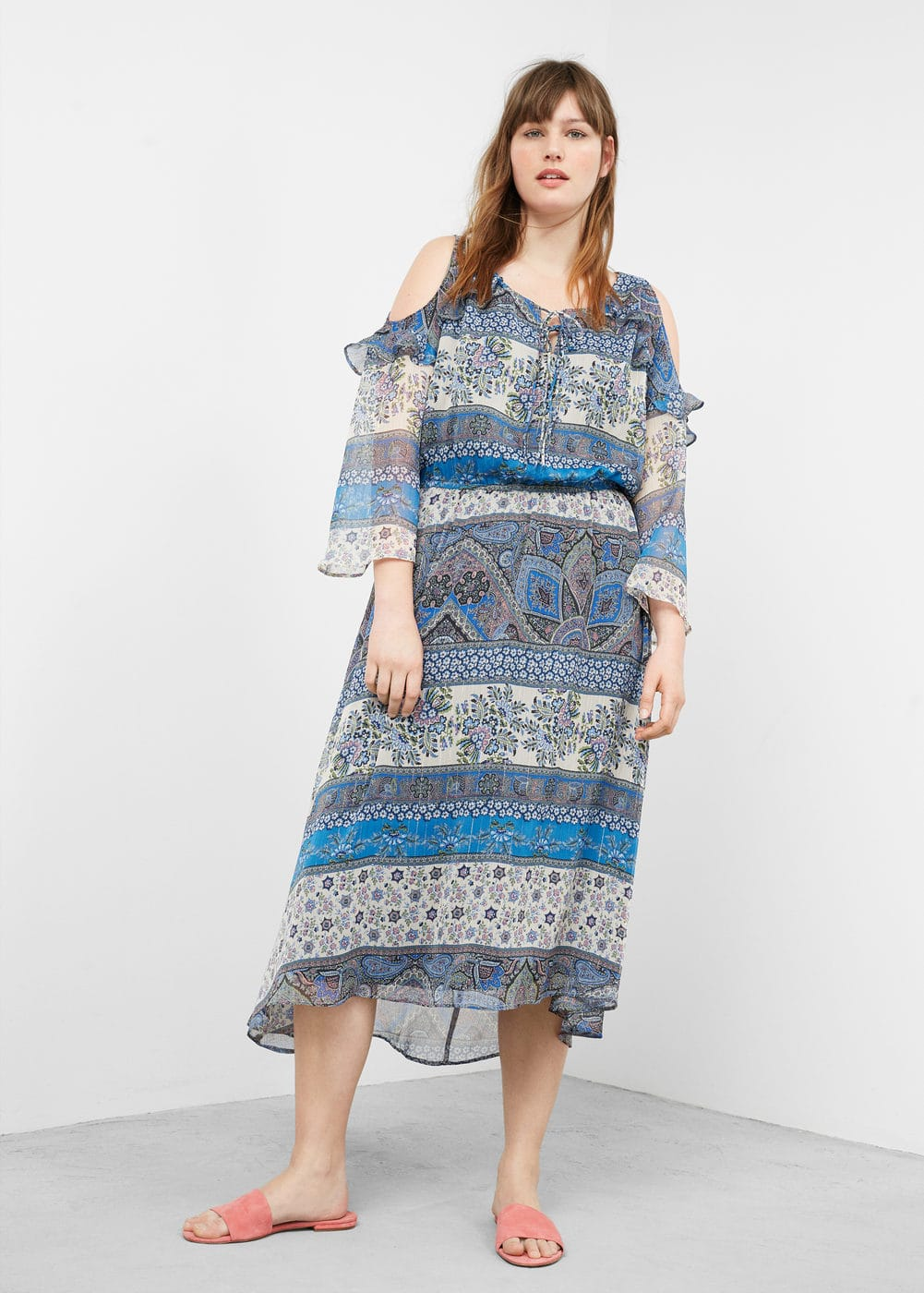 Printed off-shoulder dress | VIOLETA BY MANGO