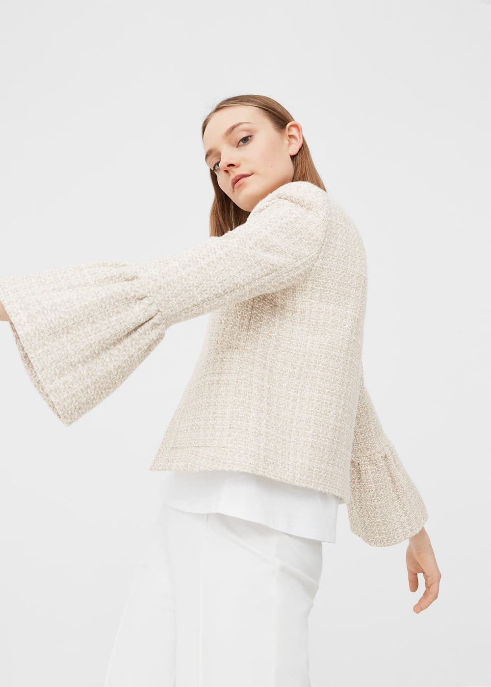 Flared tweed jacket | MANGO