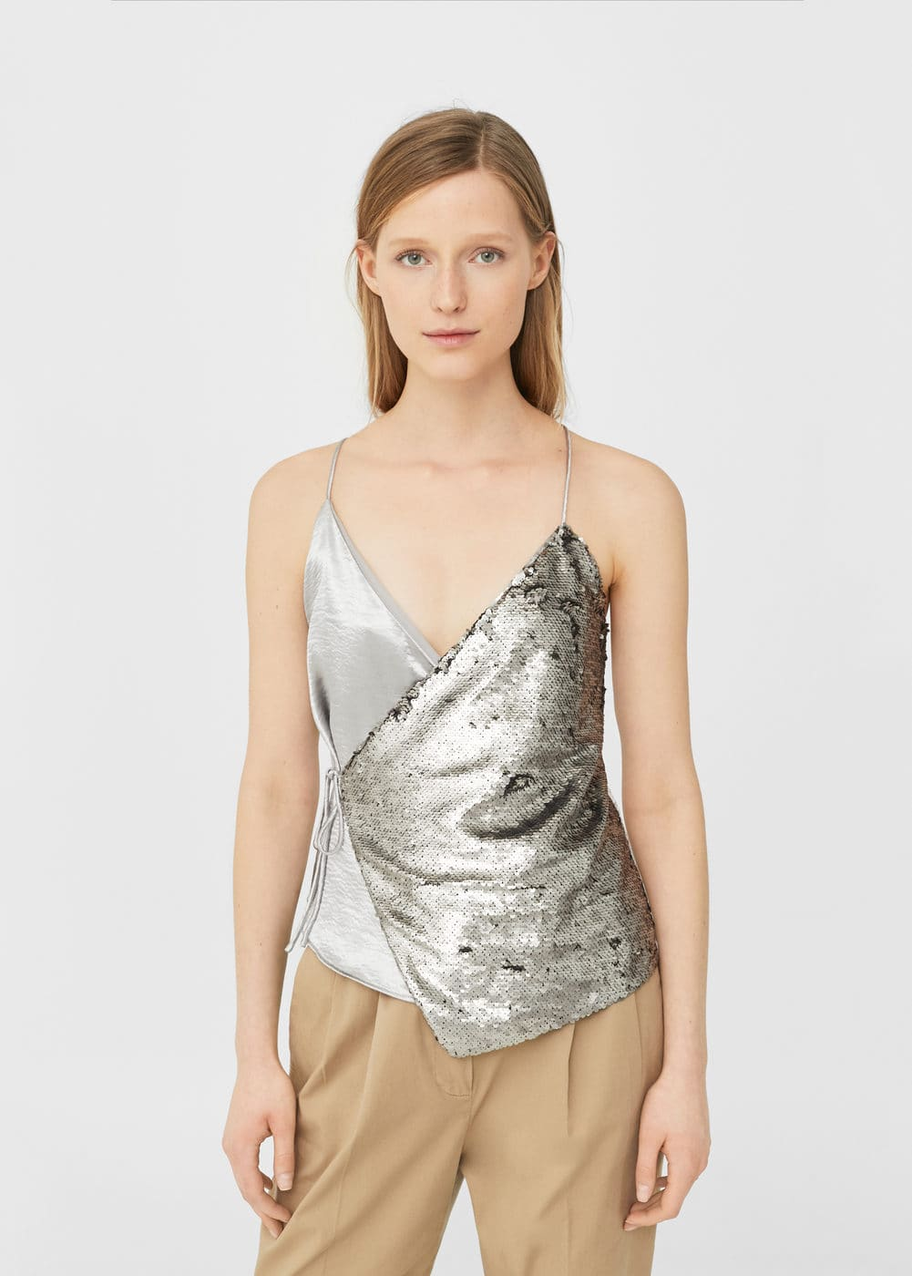 Reversible sequins top | MANGO