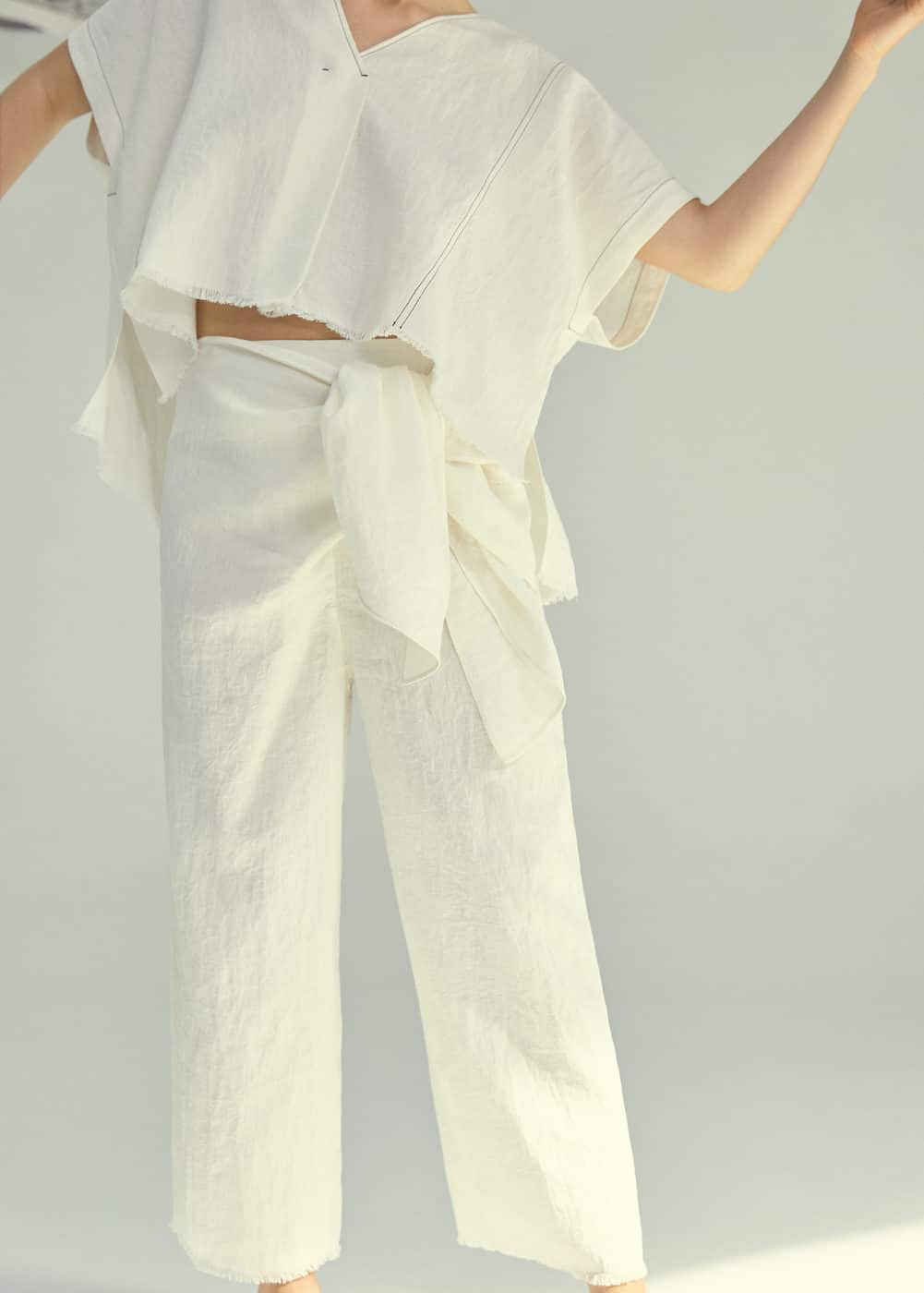 Bow linen trousers | MANGO