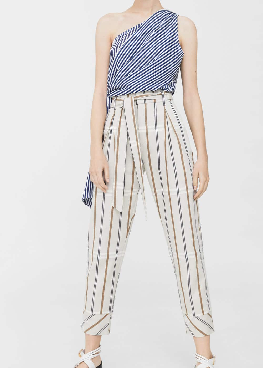 Striped linen-blend trousers | MNG