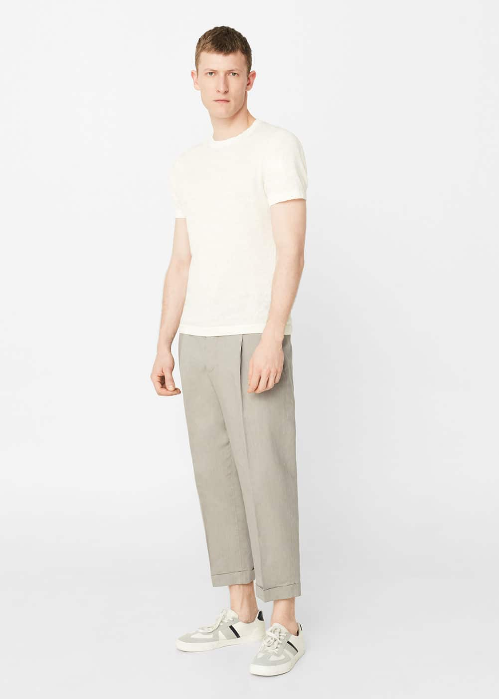 Pleated linen trousers | MANGO MAN