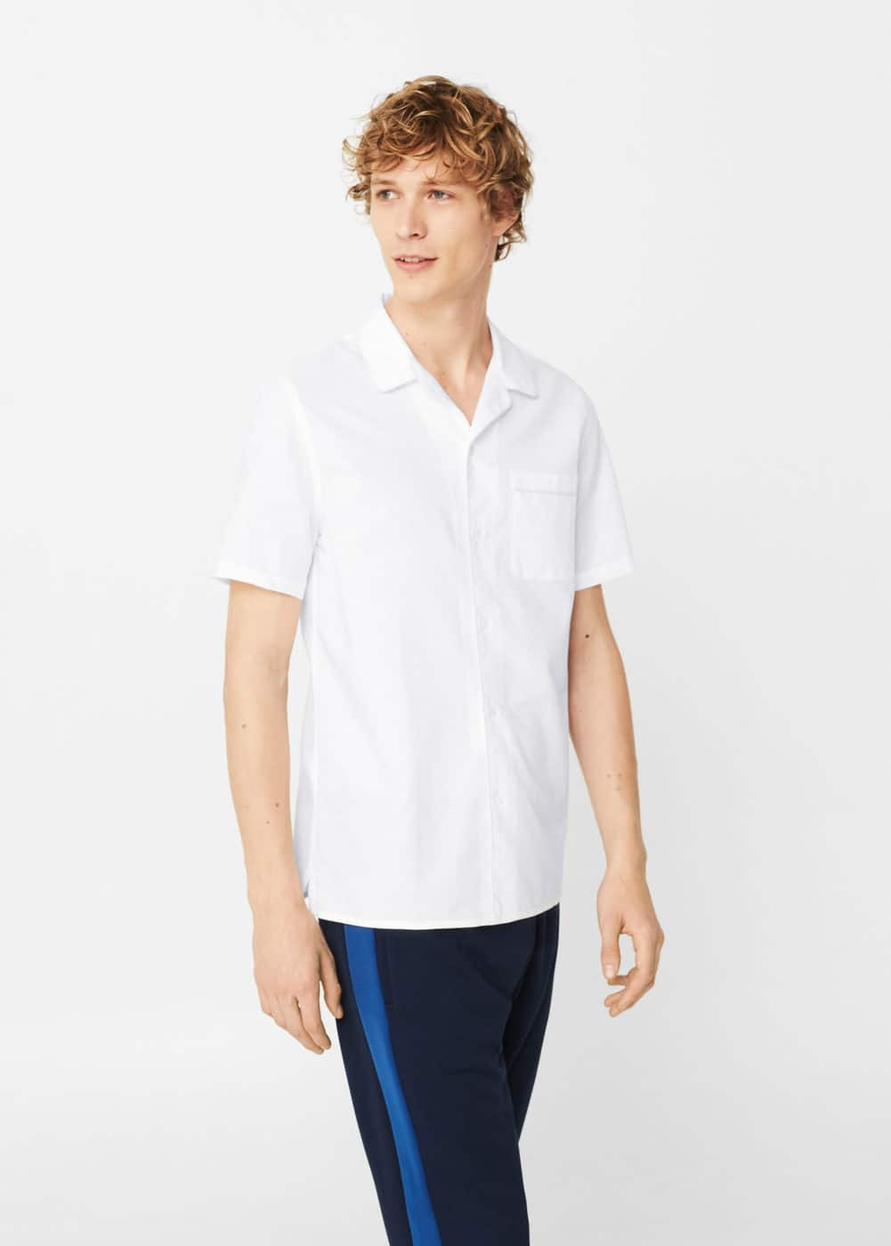 Regular-fit cotton linen-blend shirt | MANGO MAN