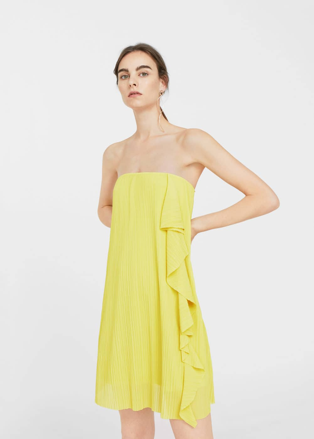 Pleated ruffle dress | MANGO