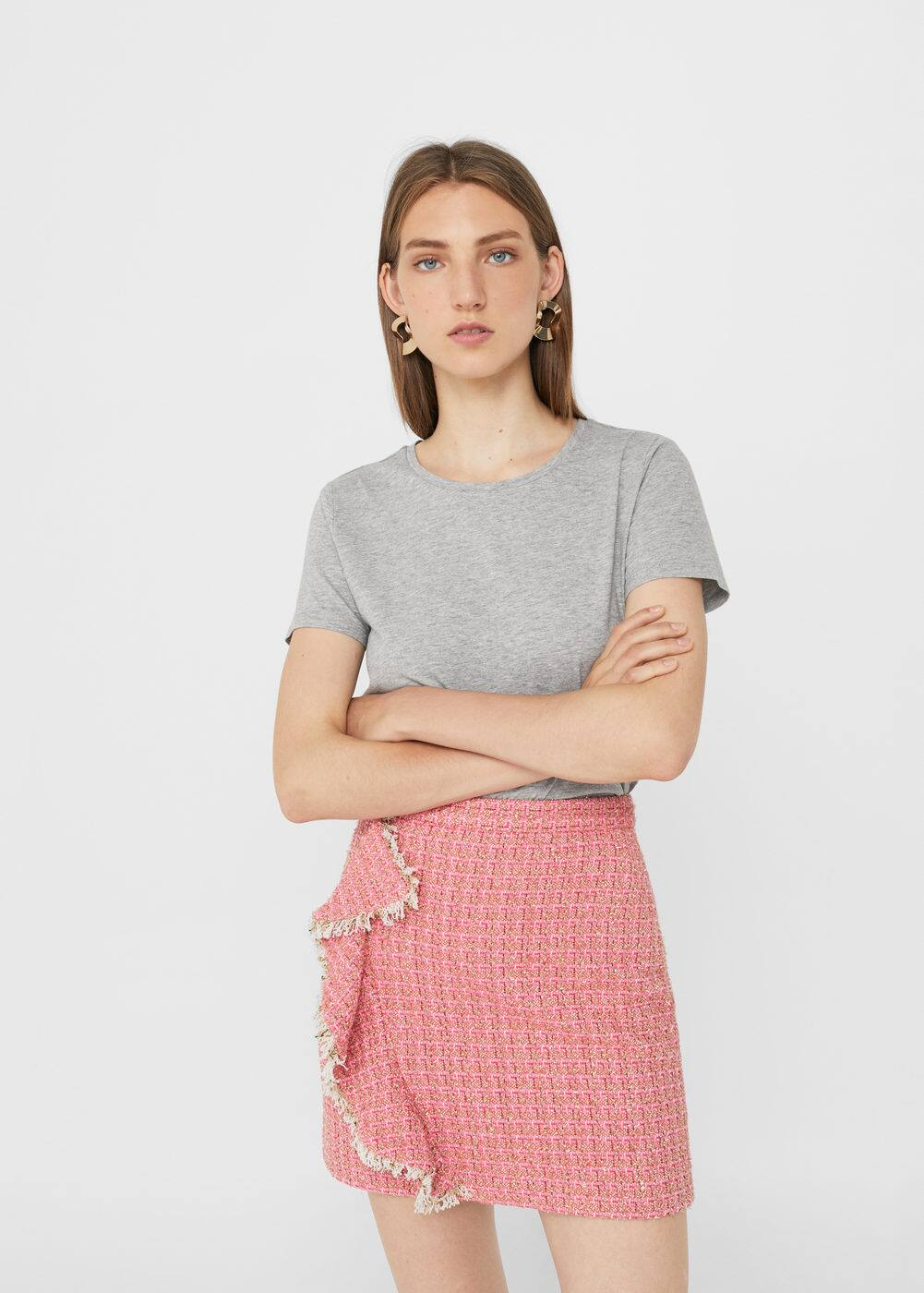 Ruffled tweed skirt | MANGO