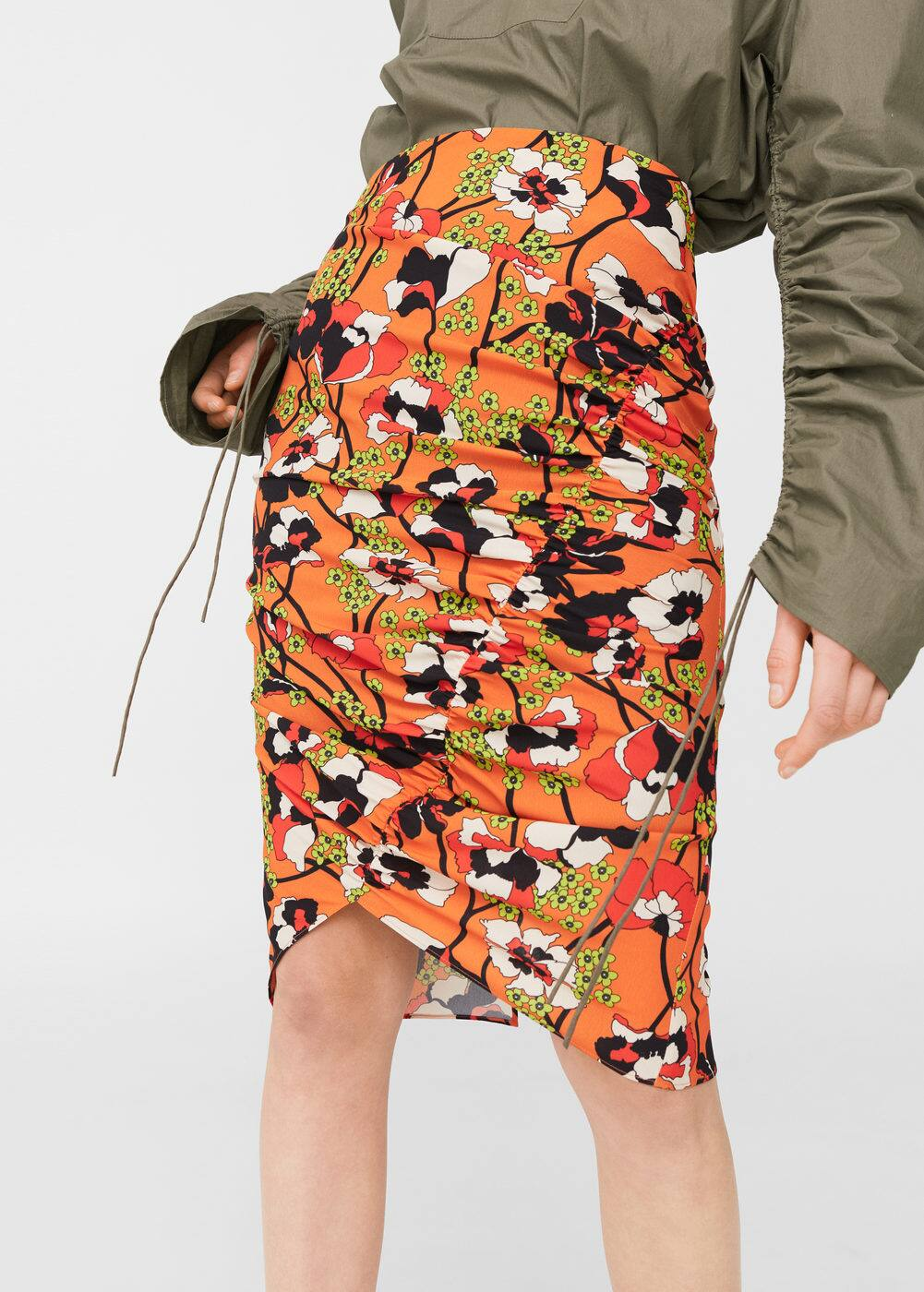 Draped printed skirt | MANGO