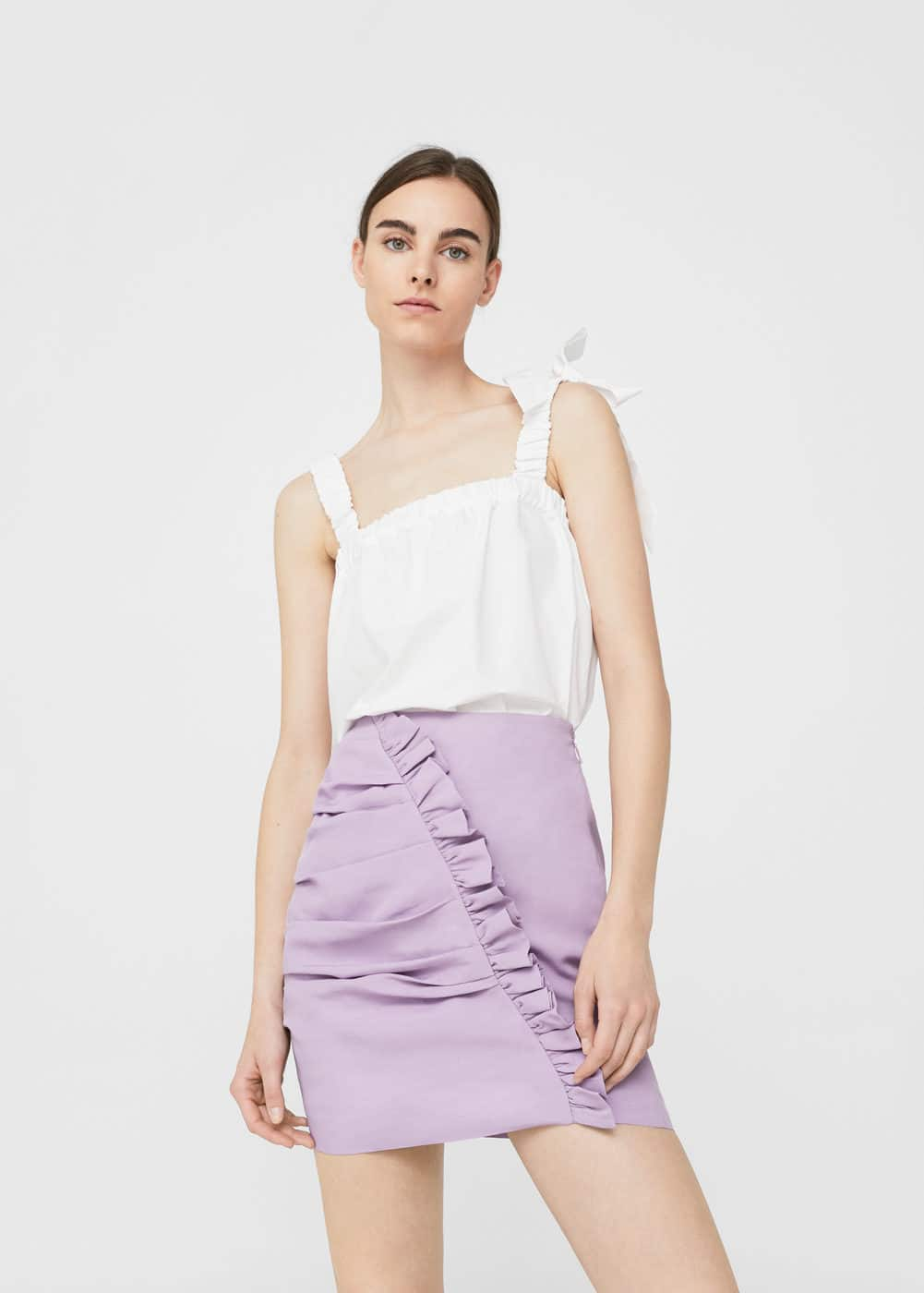 Ruffled draped skirt | MANGO