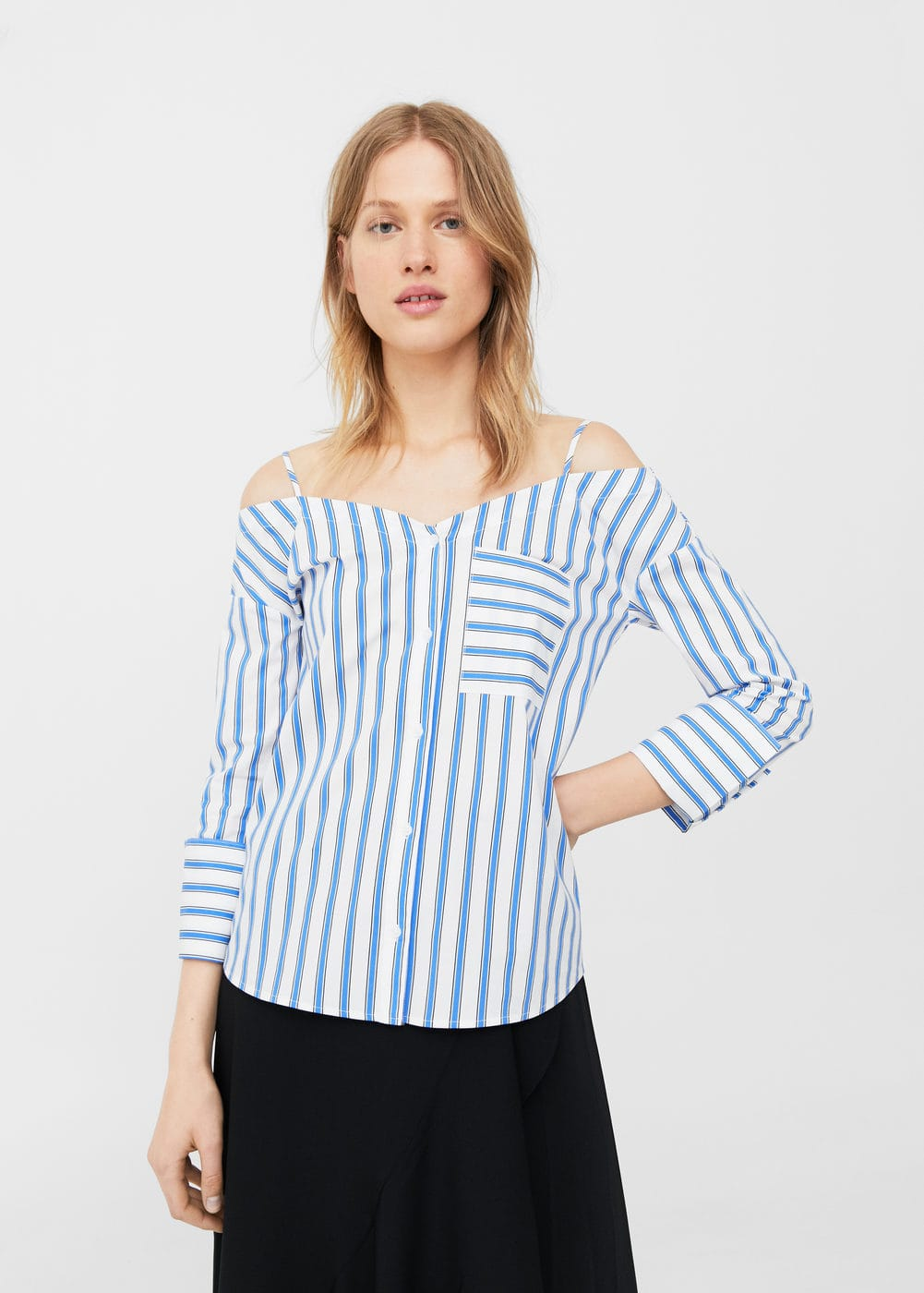 Striped off-shoulder blouse | MANGO