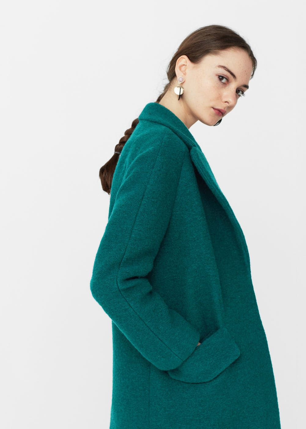 Textured wool-blend coat | MANGO