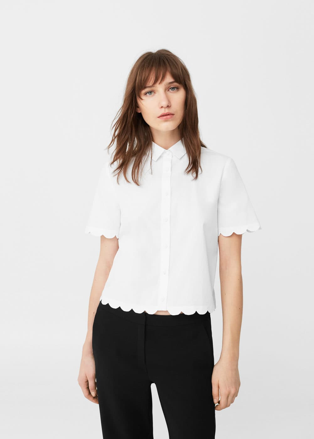 Scalloped edges shirt | MANGO