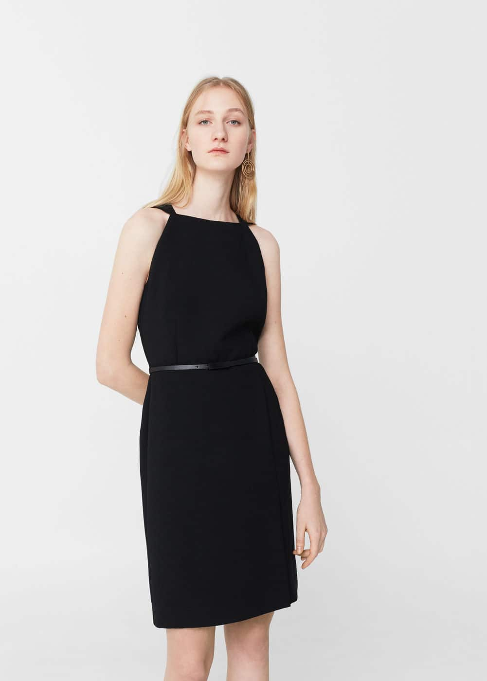 Halter neck belt dress | MANGO