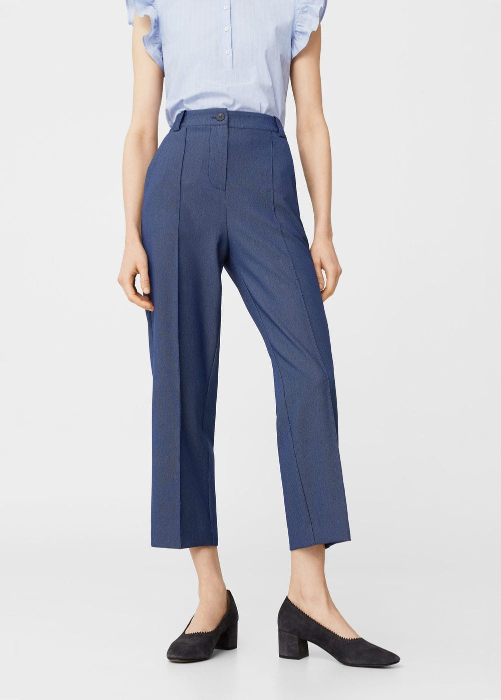 Pleated crop trousers | MANGO