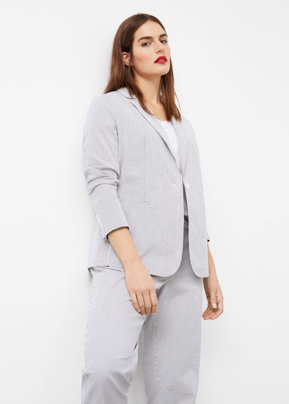 Striped cotton blazer | VIOLETA BY MANGO