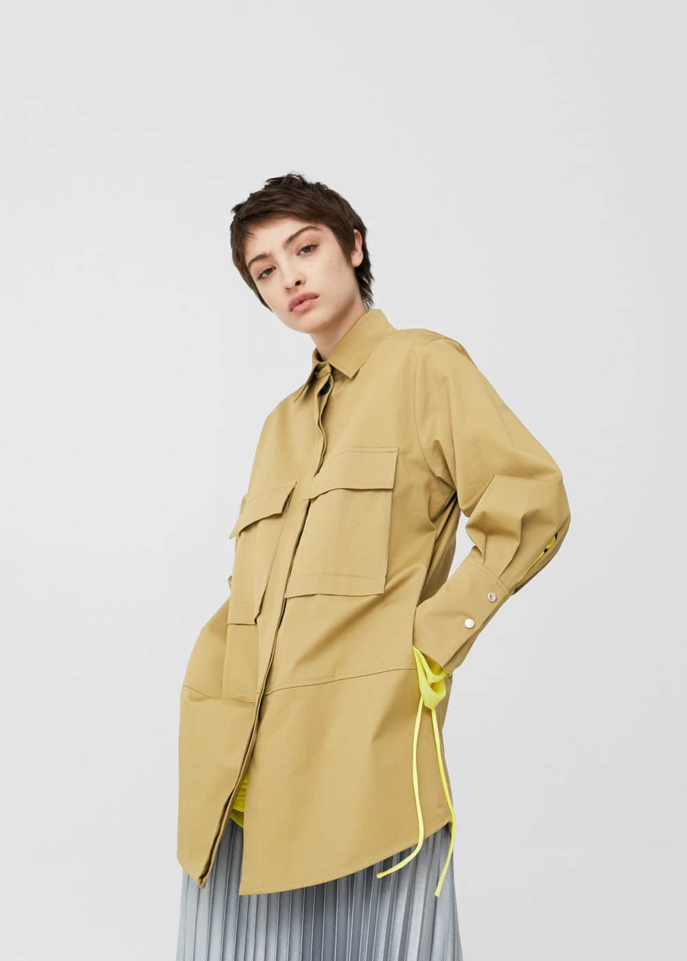 Embroidered panel jacket | MANGO