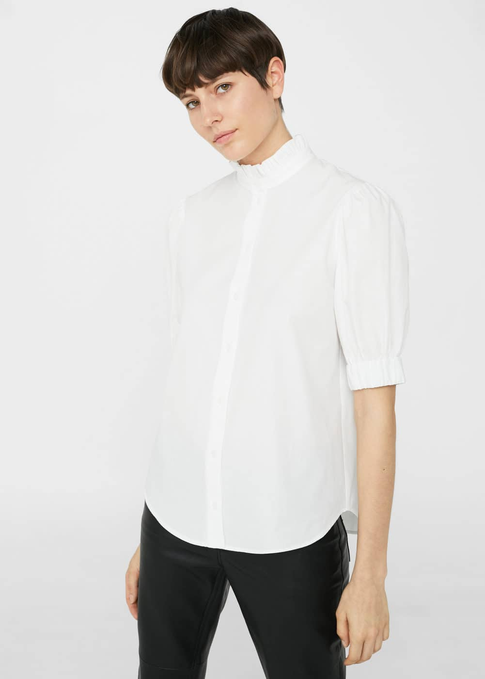 Ruffle neck shirt | MANGO